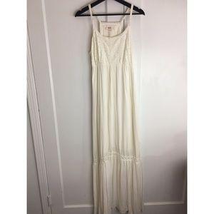 Mossimo Lace & Gauze Natural Maxi Dress Sz L